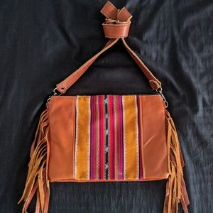 Hippie momma huipil crossbody fringe bag